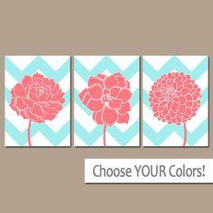 Arte de pared de la flor CHEVRON, lona o impresiones Aqua CORAL vivero, arte del cuarto de baño, dormitorio Coral cuadros, flor Dalia Set de decoración para el hogar 3