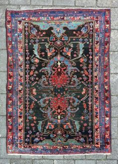 Bold and graphic Kurdish rug, 204 x 144 cm., x in Bidjar style, early c. In perfect condition, with meaty pile all over. Without any wear and . Where To Buy Carpet, How To Clean Carpet, Bedroom Carpet, Living Room Carpet, Boho Decor, Bohemian Rug, Plastic Carpet Runner, Persian Pattern, Floor Cloth