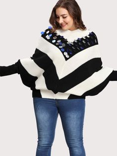 Two Tone Sequin Detail Batwing Jumper~CLICK TO BUY~