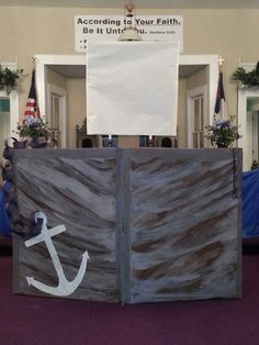 Boat made out of cardboard/painted for VBS water/fishers of men theme