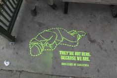 homeless awareness week ...chalk drawing on sidewalk in front of Koehler's insurance display.  November