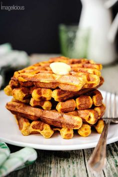 Ricotta and Pumpkin Waffles - comforting spiced waffles, perfect for cool autumn or winter morning