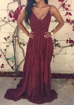 Wine Red Plain Lace Spliced Open Back Condole Belt Draped V-neck Sexy Maxi Dress