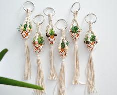 Items similar to Mini Macrame Plant Hanger Keychain on Etsy Mini Macrame Plant Hanger Keychain by KnotOnomy on Etsy Roman Clock, Diy Keychain, Keychains, Crochet Keychain, Metal Clock, Mini Plants, Macrame Projects, Macrame Patterns, Micro Macrame