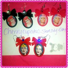 Custom made pair of earrings.  I can make any theme!  Disney, movies, music artists, superheros, you name it! Any image!    cherrycupcakes.storenvy.com