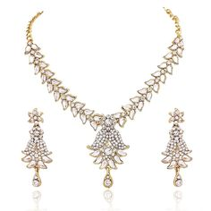 Indian Bollywood Party Wear Kundan CZ Traditional Women Jewelry Necklace Set #natural_gems15