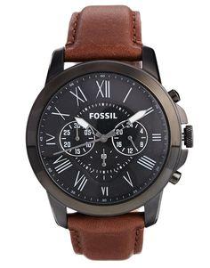Image 1 - Fossil - Grant FS4885 - Montre chronographe avec bracelet en cuir marron