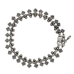 """NOVICA .925 Sterling Silver Charm Anklet, 9.75"""" 'Starlight Snowflakes' -- Check this awesome product by going to the link at the image."""