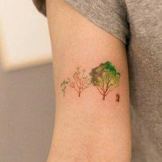 Watercolor Tree Tattoo Idea - MyBodiArt.com