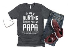 Customized Papa Hunting Shirt Personalized Grandpa Tshirt | Etsy Funny Science Shirts, Funny Tshirts, Dad To Be Shirts, Cool Shirts, Family Shirts, Hunting Shirts, Grandpa Gifts, Teacher Shirts