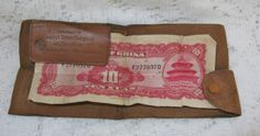 Early 1900s Fold Over Leather Advertising Wallet ~ $10.00 +sh