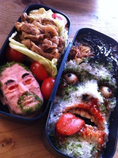 Remember the scariest bento box we'd ever seen? It's now got some competition in the form of this horrifying bento box. Which one would you rather eat? Food Design, Zombie Food, Helloween Party, Scary Food, Lunch Box Recipes, Lunch Ideas, Bento Box Lunch, Lunch Boxes, Tips