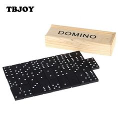 28 Pcs/lot Children Standard Domino Game Play Set With Wooden Box Puzzle Educational Early Learning Toys Kids Birtday Party Gift