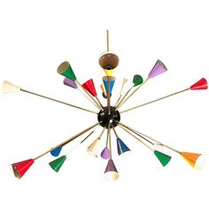 Original Stilnovo Multi-Color Sputnik Chandelier Mid-century | From a unique collection of antique and modern chandeliers and pendants at https://www.1stdibs.com/furniture/lighting/chandeliers-pendant-lights/