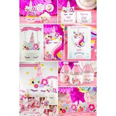 Unicorn Themed First Birthday Party - Kids Birthday Party Decor Ideas Unicorn Birthday Invitations, Unicorn Birthday Parties, Birthday Party Decorations, Party Favors, Party Themes, Diy Party, Party Ideas, Party Hacks, Party Crafts