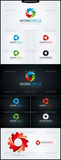 """Buy WorkCircle Logo Template by graphactive on GraphicRiver. """"WorkCircle"""" logo template suitable for manufacturing, engineering, machinery and mechanic businesses and services co. Circle Logo Design, Vector Logo Design, Logo Design Template, Logo Templates, Branding Design, Abstract Logo, Geometric Logo, Elegant Business Cards, Business Card Design"""