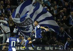 Joao Moutinho celebrates his goal vs. Malaga in the 1st leg of the Champions League Round of 16.  Porto eventually won the match 1-0.