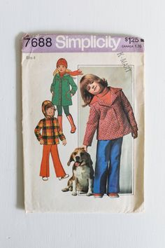 Vintage Simplicity 7688 Children's Hooded Jacket or Coat and Pants, Boy or Girl Size 4, Vintage Sewing Pattern for Children / Toddlers, 1976... www.etsy.com/shop/Petitpoesy