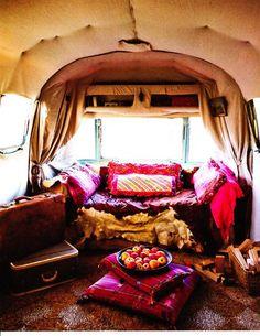 Bohemian Style for Beautify the RV Decoration Trailer Interior, Rv Interior, Interior Design, Caravan Inside, Burning Man Fashion, Rv Living, Bohemian Style, Bohemian Lifestyle, Bohemian Gypsy