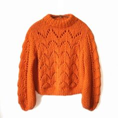 Gepard Montgolfier – balloon-sleeved sweater D Lace Patterns, Knitting Patterns, Chunky Knitwear, Chunky Knit Sweaters, Lace Sweater, Cardigan, How To Purl Knit, Pulls, Knitting Projects