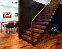 Amazing Outdoor Wood Stairs Photos : Modern Staircase With Outdoor Wood Stairs W. Amazing Outdoor Wood Stairs Photos : Modern Staircase With Outdoor Wood Stairs Wooden Wall Panelling Wooden Floor Plant Pot Under Stairs Art. Floating Staircase, Modern Staircase, Staircase Design, Staircase Contemporary, Staircase Ideas, Modern Railing, Flooring For Stairs, Wood Stairs, Design Moderne