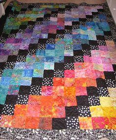 rainbow batik quilt;