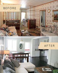Salas de estar, antes e depois: 5 ideias e sugestões