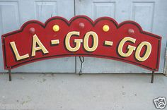 VINTAGE ANTIQUE CARNIVAL RIDE LIGHTED SIGN WOOD HAND PAINTED CIRCUS ART FOLKART