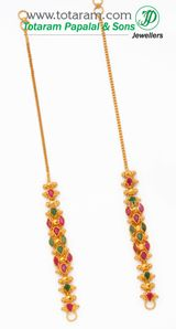 22K Gold Ear Chain (Matilu) - 1 Pair with Ruby & Emerald - GEM103 - Indian Jewelry from Totaram Jewelers