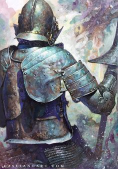 Knight by artist Chris Casciano. Fantasy World, Dark Fantasy, Fantasy Art, Classical Antiquity, Classical Art, Medieval Knight, Fantasy Illustration, Aesthetic Art, Dungeons And Dragons