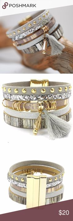 Beautiful Boho Cuff Bracelet - New! This beautiful Silver toned Bohemian cuff bracelet is a perfect accessory to any outfit.  Dress up a casual look or wear for an evening out!  This is leather with embellishments and a tassel.  It has a strong magnetic clasp that makes it easy to put on and comfortable to wear!  This comes in 2 sizes, please measure your wrist and add 2 cm for a little extra room.  Only 5 of each size available!  Feel free to add this item to a bundle and I'll send you a…