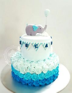 Baby shower cake, fondant and buttercream - Baby Elephant cake. Baby shower cake, fondant and buttercream - Elephant Baby Shower Cake, Elephant Cakes, Baby Shower Cakes For Boys, Baby Boy Cakes, Boy Baby Shower Themes, Baby Boy Shower, Baby Shower Decorations, Elephant Theme, Babyshower Cake Boy