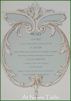 The Menu for Parisienne Luncheon