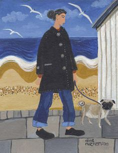 Pug Promenade, a greeting card by Dee Nickerson