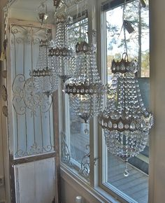 Those three chandeliers must look amazing from outside the window...