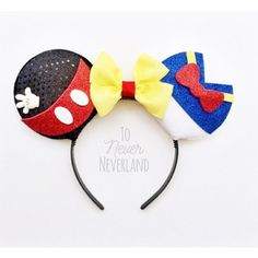 Mickey and Donald Ears Mickey Mouse Ears Donald Duck Ears Disney Ears Headband, Diy Disney Ears, Disney Mickey Ears, Ear Headbands, Disney Diy, Disney Crafts, Disney Bows, Disney 2017, Disney Travel