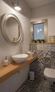 gäste-wc-gestalten-muster-bodenfliesen-holz-waschtisch-aufsatzwaschbecken