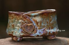 Ice Blue and Coco Brown Footed Pot by Succulent-Pottery.com
