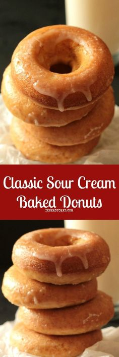 These classic sour cream baked donuts are so easy to make, not to mention no deep frying involved! These donuts have a soft and airy crumb, and so delicious to eat! Baked Donut Recipes, Baked Doughnuts, Baking Recipes, Baked Sour Cream Donut Recipe, Donuts Donuts, Recipes With Sour Cream, Donut Maker Recipes, Mini Donuts, Baking Ideas