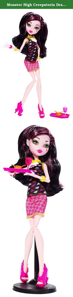 Monster High Creepateria Draculaura Doll. A ghoul's got to eat! When dining in the Creepateria, the un-natural place to feed a monster appetite, Draculaura doll also dresses to see and be seen in fangtastic fashions. Her clawesome new outfit and monsterrific accessories show this ghoul knows how to do lunch. Plus, her batwing grilled cheese and goblet - that fit on her coffin-shaped lunch tray (in pink, of course!) - make any Daughter of Dracula drool. Her to-die-for look pairs a black…
