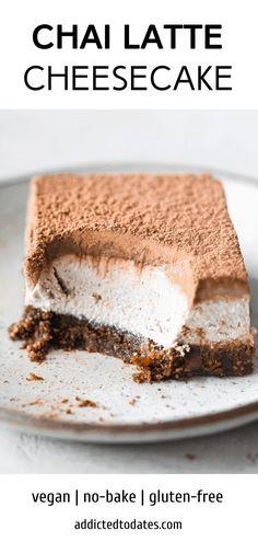 Vegan Baking Recipes, Vegan Dessert Recipes, Cheesecake Recipes, Healthy Desserts, Cooking Recipes, Cheesecake Bars, Healthy Cheesecake, Gluten Free Cheesecake, Healthy Cake Recipes
