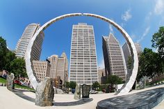 Hart Plaza is a long time city riverfront destination and venue for a host of summer festivals and concerts. The 14 acre plaza, which is named for the late U.S. Senator Philip Hart, opened in 1975 and has a capacity of 40,000 people.