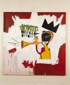 Jean-Michel Basquiat (1960-1988) Trumpet  1984 Acrylic and oil paintstick on canvas  60 x 60 in. (152.4 x 152.4 cm).  On loan from private collection.  Courtesy of the Norton Museum of Art