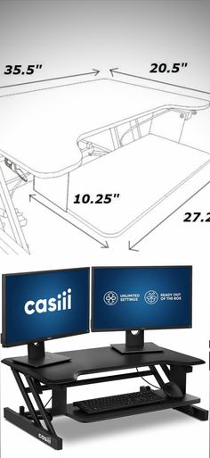 Adjustable Standing Desk and Ergonomic Solutions - Casiii Computer Stand For Desk, Stand Up Desk, Computer Protection, Desk Inspiration, Adjustable Desk, Home Desk, Desk Ideas, High Quality Furniture, Keep It Cleaner