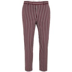 TOPMAN Burgundy And White Stripe Skinny Suit Trousers ($68) ❤ liked on Polyvore featuring men's fashion, men's clothing, men's pants, men's dress pants, red, mens white pants, mens red pants, mens super skinny dress pants, mens burgundy dress pants and mens skinny fit dress pants