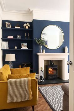 Victorian living room - The Ultimate Guide Perfect Vintage Living Room Design! Navy Living Rooms, Blue Living Room Decor, Living Room Color Schemes, New Living Room, Living Room Modern, Home And Living, Living Room Designs, Dark Blue Living Room, Blue And Mustard Living Room