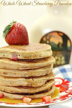 My kids loved these! Whole Wheat Strawberry Pancakes Low Calorie, Low Fat Healthy Breakfast