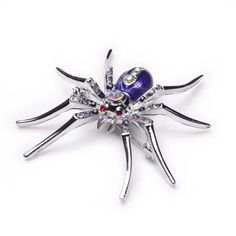 Purple Alloy Crystal Rhinestone Widow Spider Animal Pin Brooch Halloween Xmas