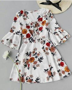 ROMWE Fluted Sleeve Layered Random Lace Up Front Dress - AdoreWe. Teen Fashion Outfits, Mode Outfits, Trendy Outfits, Dress Outfits, Casual Dresses, Girl Outfits, Fashion Dresses, Dress Clothes, Floral Dresses