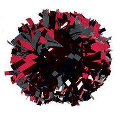 "XMPOM2-S-MBKMRD 6"" Metallic Black & Red Baton Handle Pom"